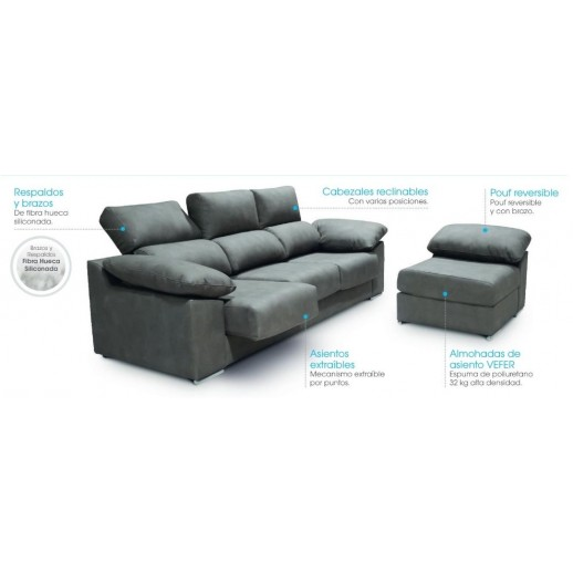 CHAISE LONGUE ASIENTOS EXTENSIBLES + POUF REVERSIBLE LAURA - SERVICIO EXPRESS