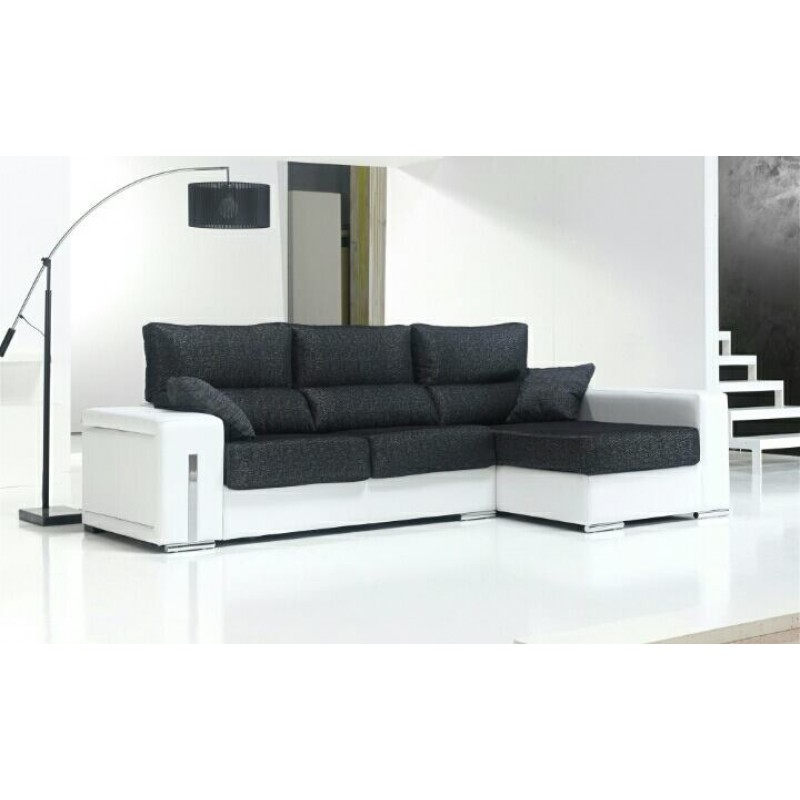 Oferta chaise longue con extraibles y 2 puffs for Oferta sofa cama chaise longue