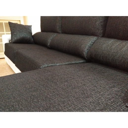CHAISE LONGUE CON EXTRAIBLES Y 2 PUFFS